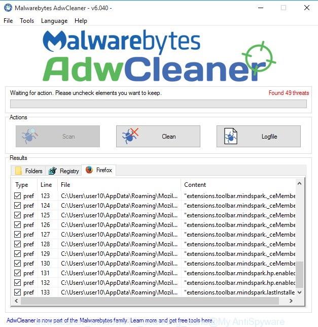adwcleaner MS Windows 10 detect Search.findthatsearch.com browser hijacker and other kinds of potential threats like malware and 'ad supported' software finished