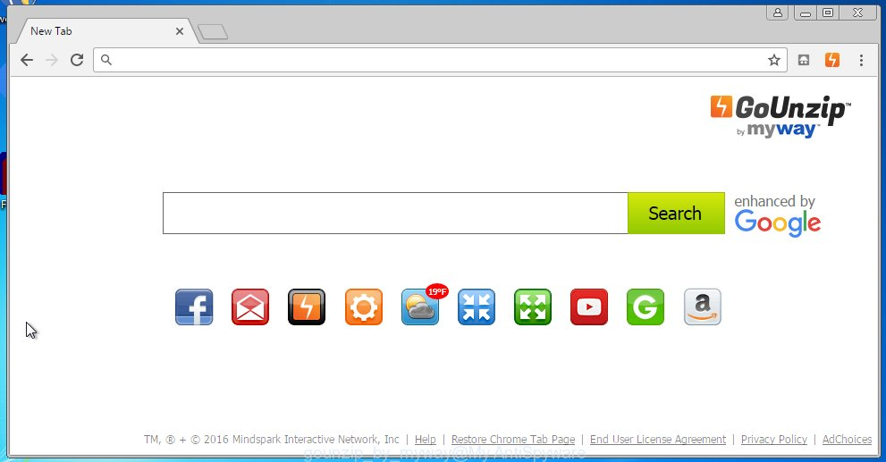 GoUnzip by MyWay replaces browser's startpage