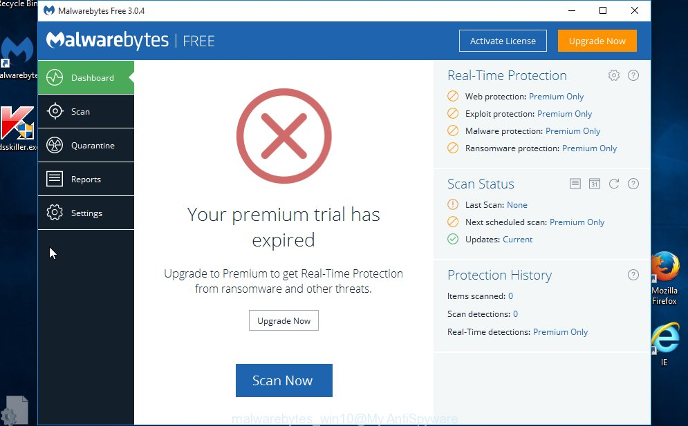 MalwareBytes Anti Malware (MBAM) MS Windows10