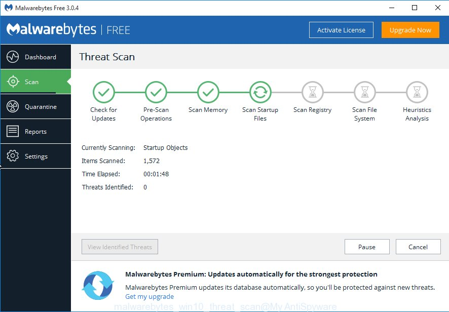 MalwareBytes Free MS Windows10 scan for adware that causes misleading System Has Detected Intrusion pop up on your internet browser