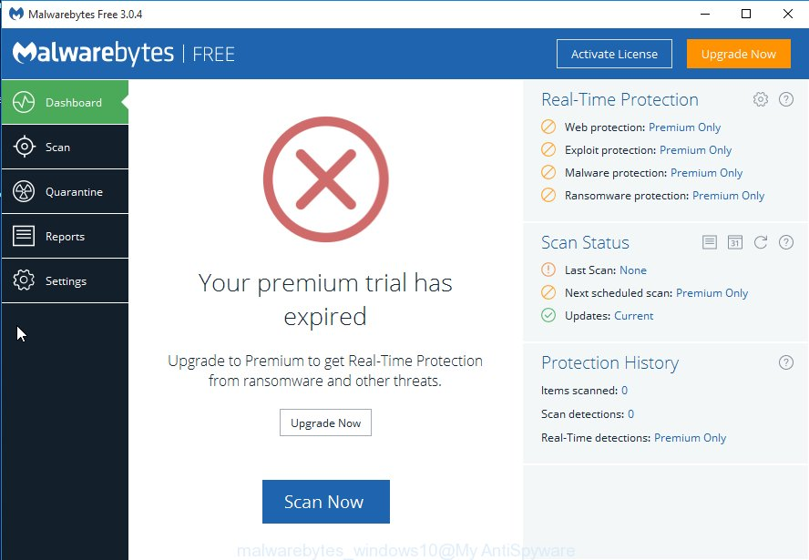MalwareBytes Free Microsoft Windows 10 remove browser hijacker which created to redirect your web-browser to the Redirectro hosted search page