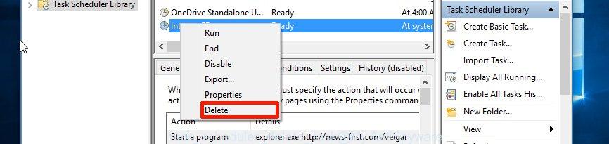 Task scheduler, delete a task