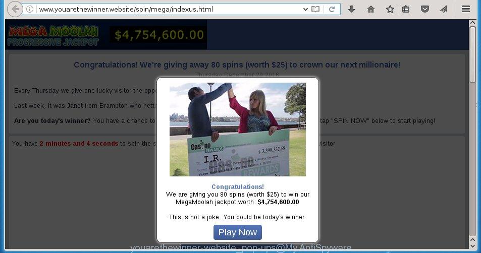 youarethewinner-website pop-ups