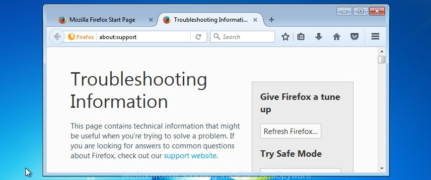 Firefox troubleshooting info