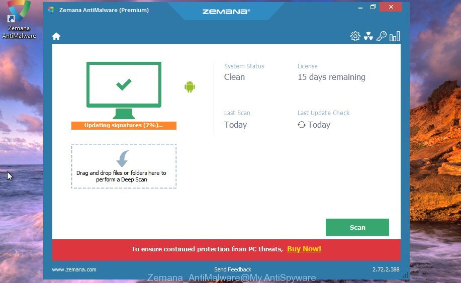 Zemana Anti Malware look for adware responsible for redirections to the Slughtessing.info