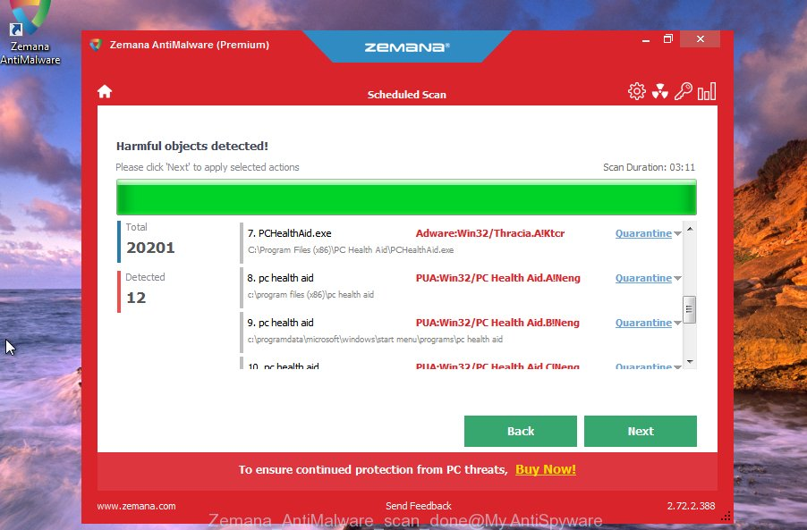 Zemana AntiMalware delete adware which cause undesired Glazinespolka.club advertisements