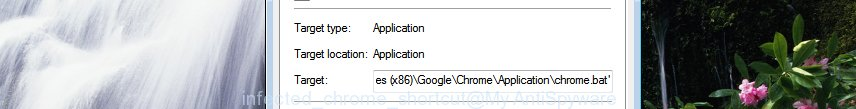 infected chrome shortcut