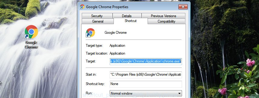 Google Chrome internet browser shortcut file properties