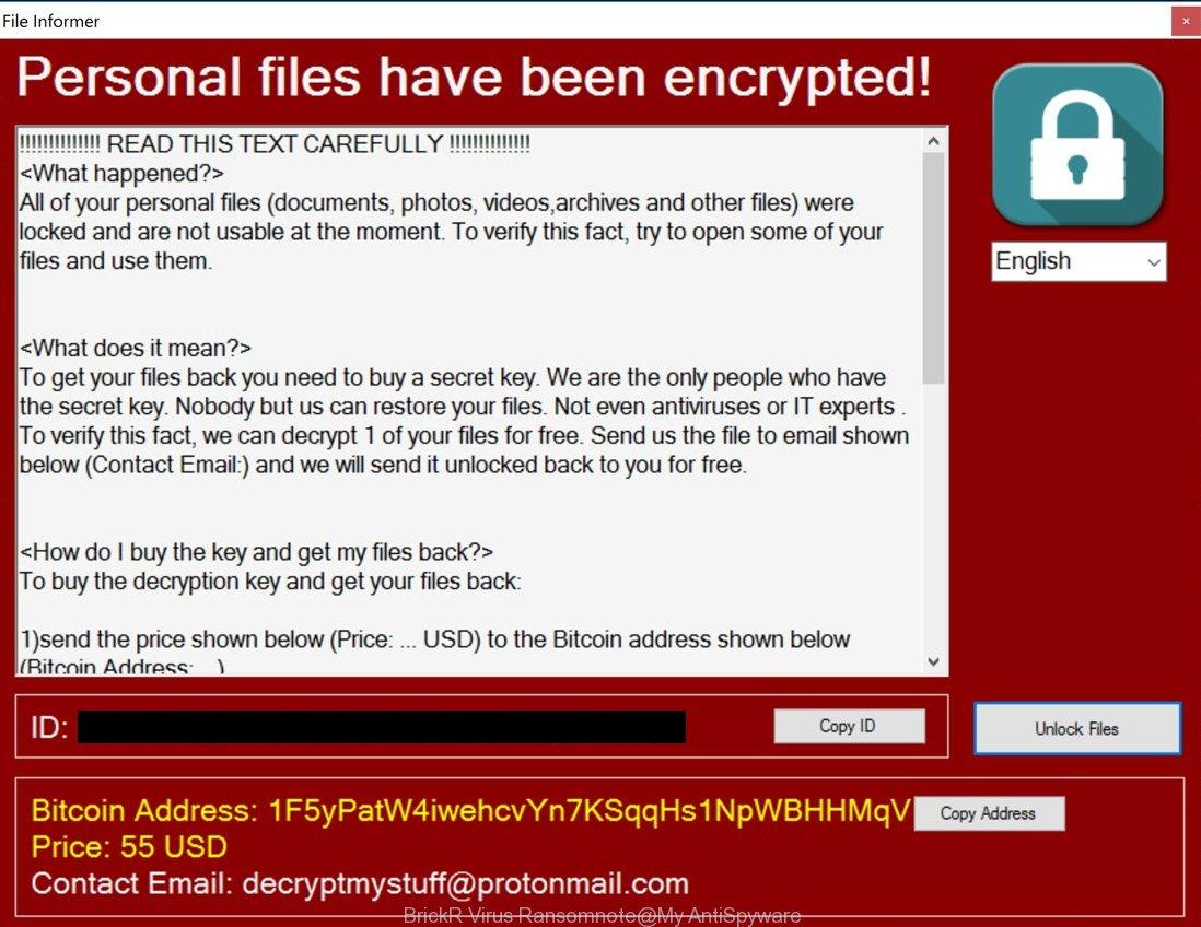 BrickR Virus Ransomnote