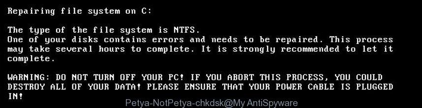 Petya.A/NotPetya virus chkdsk