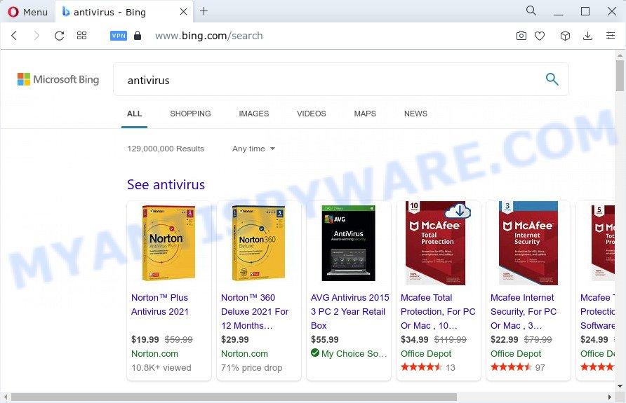 Bing Search redirect virus