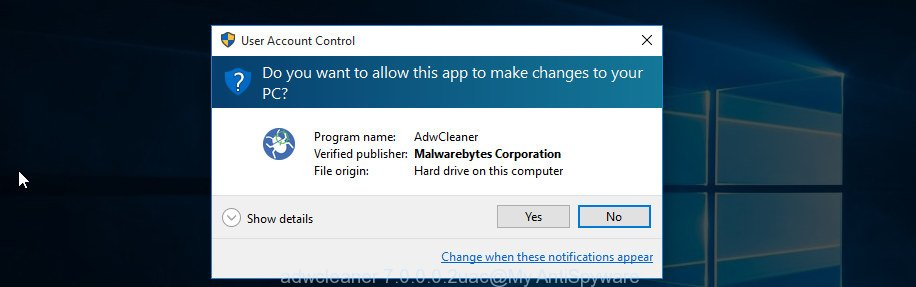 AdwCleaner for MS Windows uac prompt