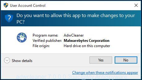 AdwCleaner for Windows uac dialog box
