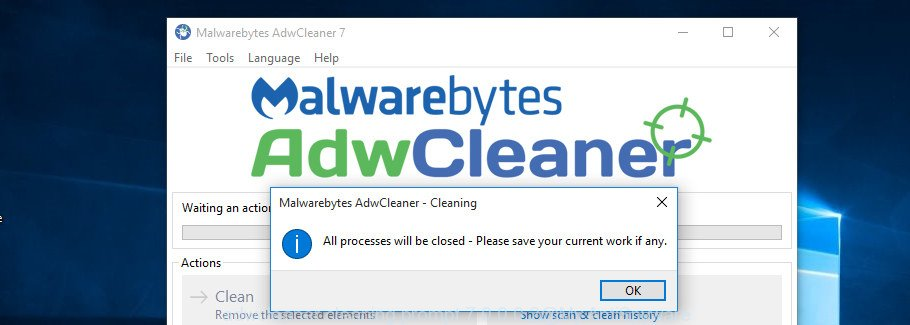 AdwCleaner for MS Windows cleaning dialog box