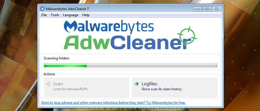 AdwCleaner for  Windows scan for browser hijacker infection which cause a redirect to Search.searchvfr.com web-page