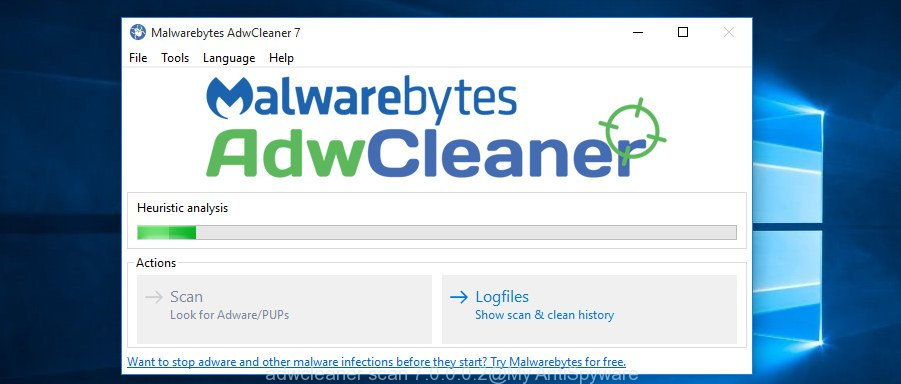 AdwCleaner for Microsoft Windows scan for hijacker infection responsible for redirecting user searches to Search.hmyemailsignin.com