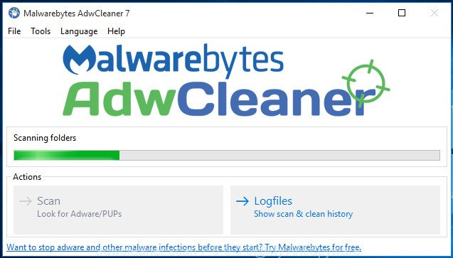 adwcleaner MS Windows 10 scan for adware that cause misleading システム警告 pop up to appear