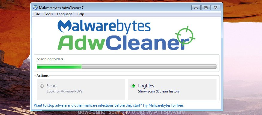 AdwCleaner for Windows search for browser hijacker that causes internet browsers to show unwanted MyHomePage.pro web page