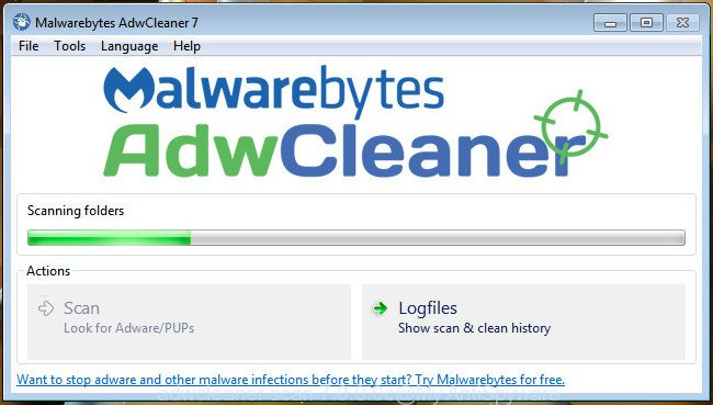 AdwCleaner for MS Windows find hijacker infection that responsible for web browser redirect to the undesired Search.heasystreamingnow.com web-site