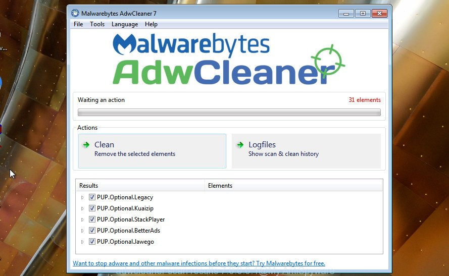 AdwCleaner for Microsoft Windows search for hijacker infection is finished