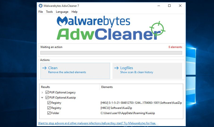 adwcleaner Windows 10 find browser hijacker infection finished