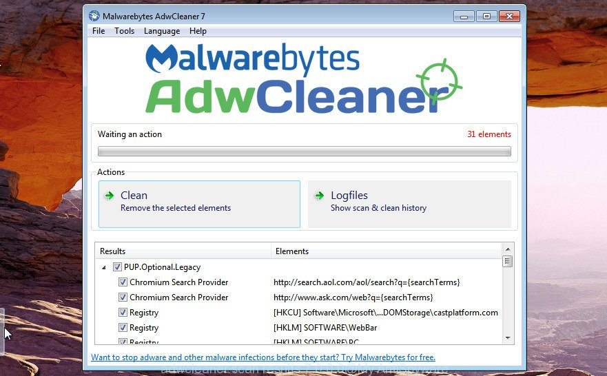 AdwCleaner for Windows find adware is finished