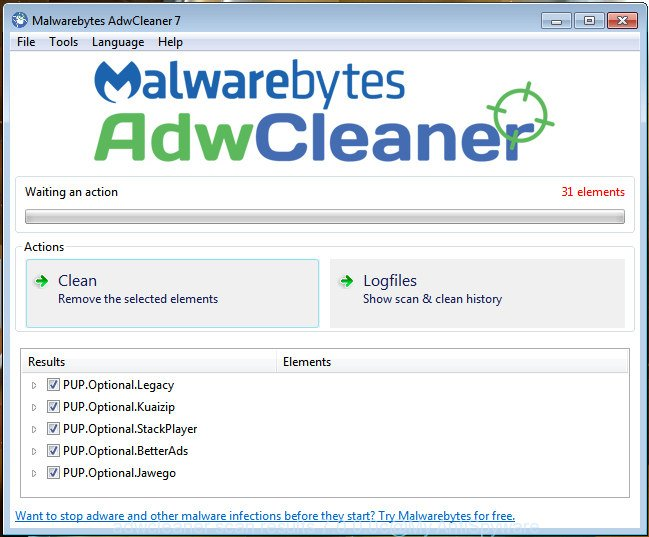 AdwCleaner for MS Windows search for 'ad supported' software is finished