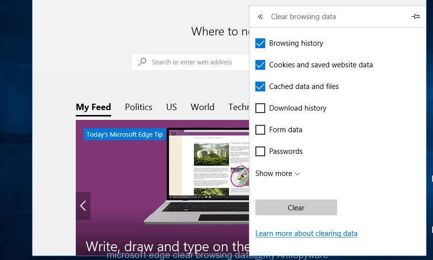 microsoft edge clear browsing data