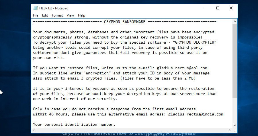 Gryphon Ransomware how to decrypt