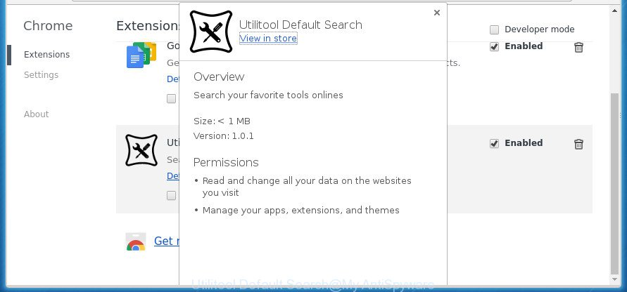 Utilitool Default Search
