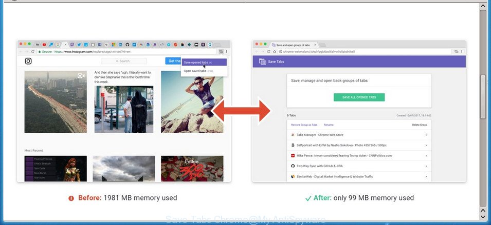 Save Tabs Chrome extension