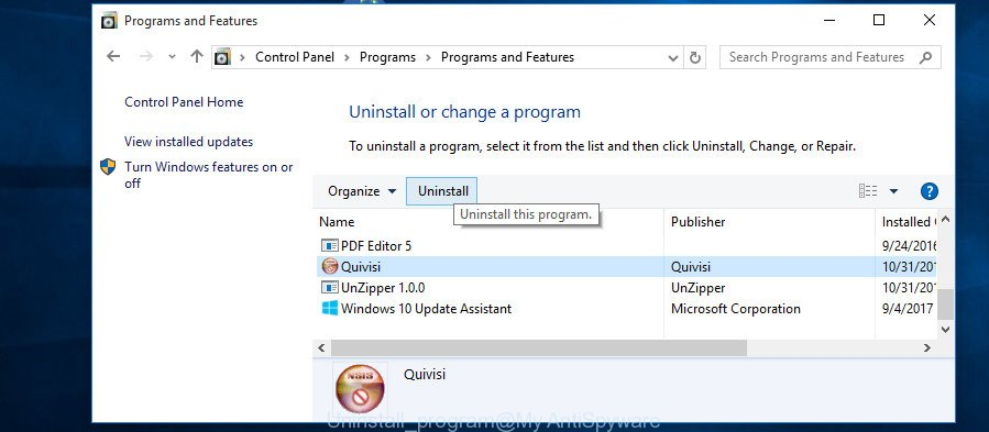 uninstall program MS Windows 10