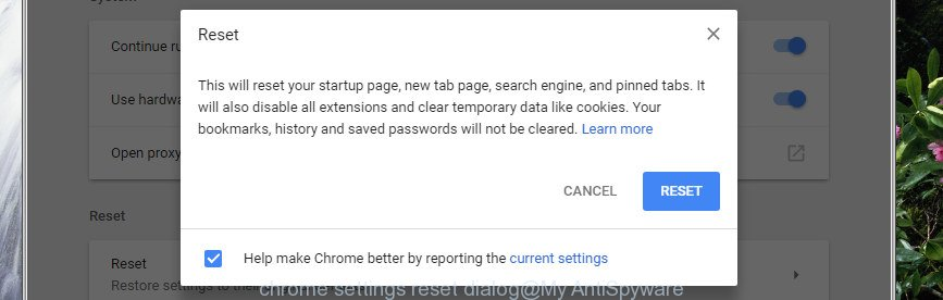 Google Chrome settings reset dialog