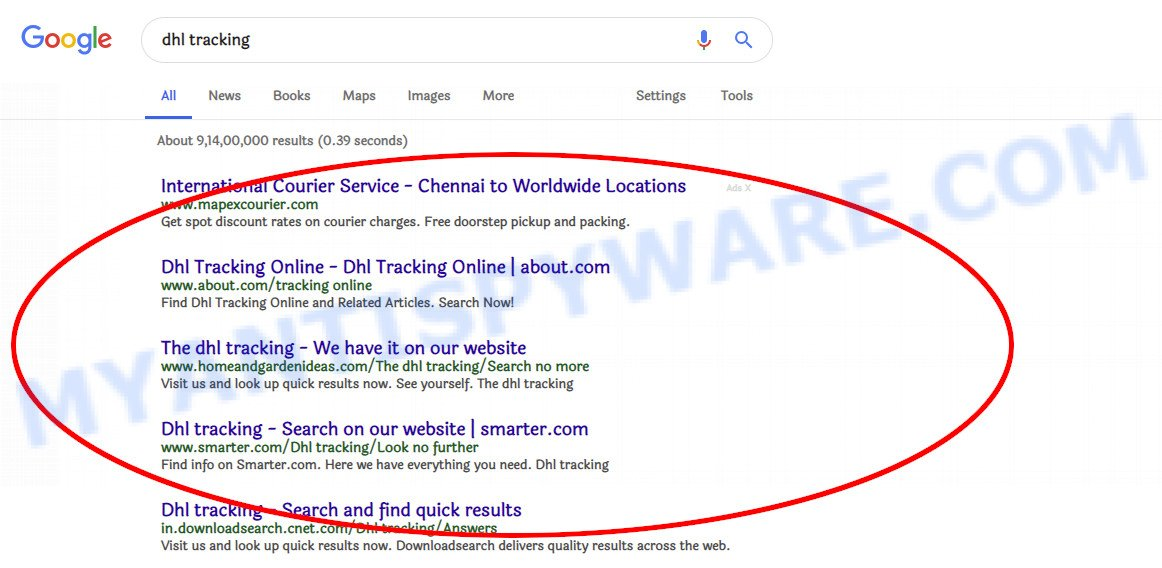 search results hijacked by a malicious extension