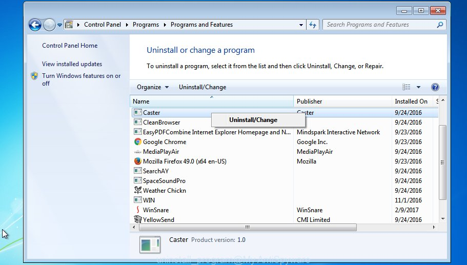 uninstall application MS Windows 7