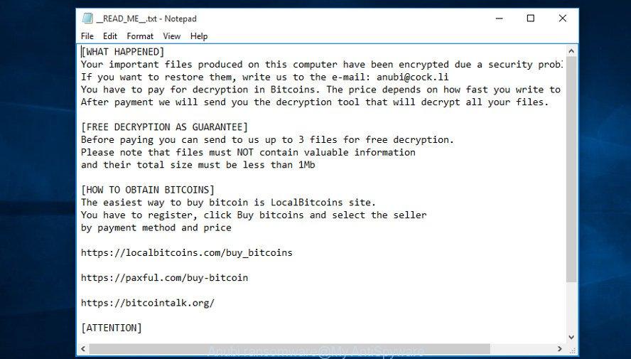 Anubi ransomware
