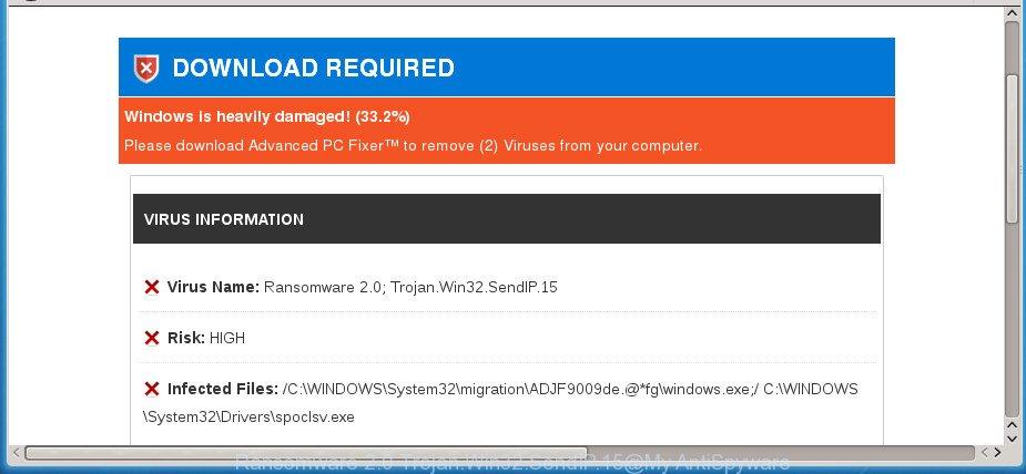 Ransomware 2.0 Trojan.Win32.SendIP.15