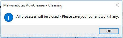 AdwCleaner for Microsoft Windows cleaning prompt