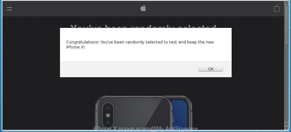 iPhone X popup scam