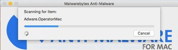 MalwareBytes AntiMalware (MBAM) for Mac OS - search for ad-supported software that responsible for the appearance of MacCleaner popup ads