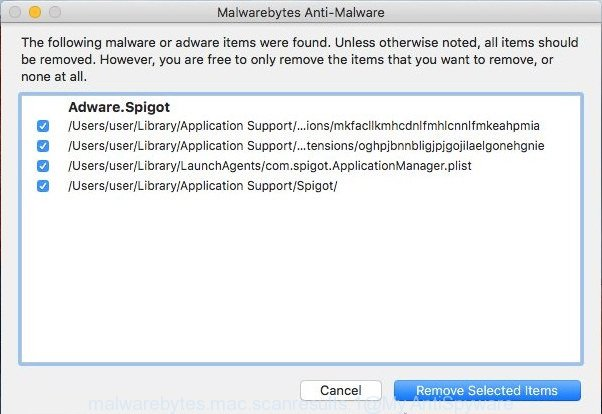 MalwareBytes for Mac OS - scan for browser virus is finished