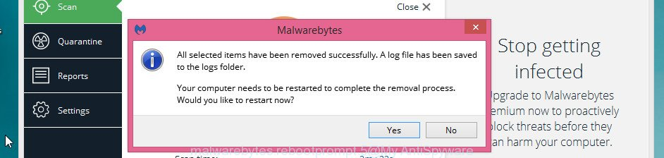 MalwareBytes Anti Malware (MBAM) for Microsoft Windows restart dialog box