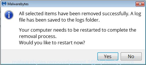 MalwareBytes Anti-Malware (MBAM) for Windows restart dialog box