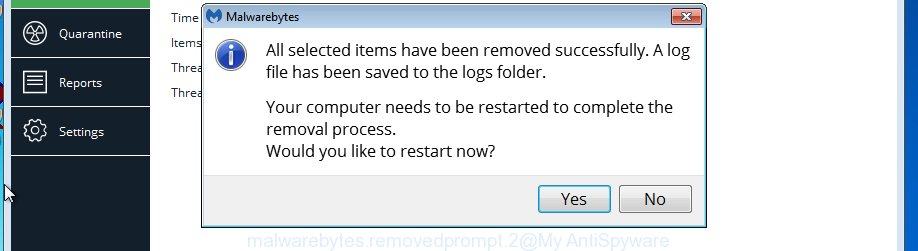 MalwareBytes AntiMalware (MBAM) for Microsoft Windows restart dialog box