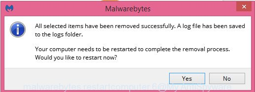 MalwareBytes AntiMalware for MS Windows restart dialog box