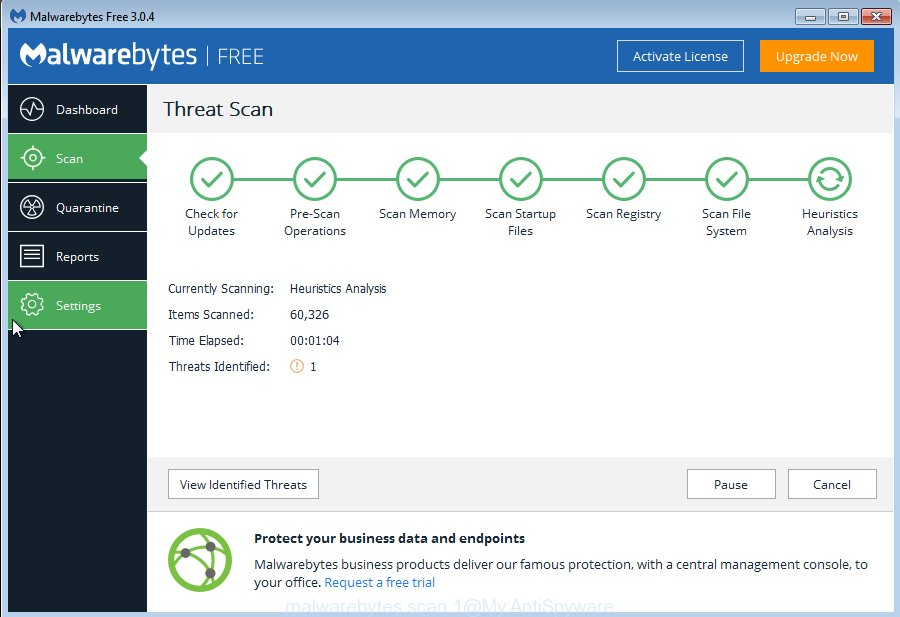 MalwareBytes Free for Windows find hijacker infection that causes web-browsers to open intrusive Hidemysearches.com webpage
