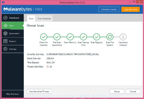 MalwareBytes AntiMalware for Windows scan for Ransomed@india.com ransomware virus and other kinds of potential threats like malware and PUPs