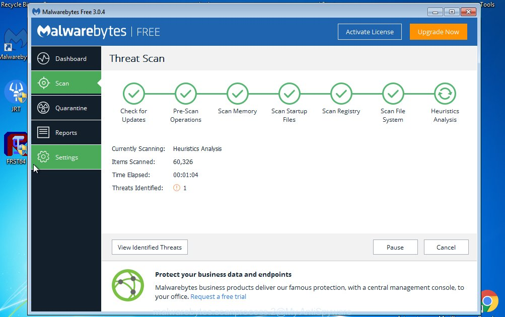MalwareBytes Free for Windows scan for adware responsible for Pishnotone.com pop-ups