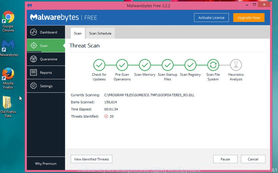 MalwareBytes Free for Windows scan for ad supported software related to Man1fest.com popups