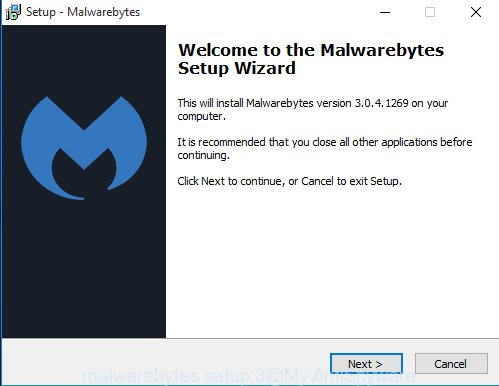 MalwareBytes Free for Microsoft Windows set up wizard